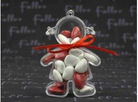 Dragées Baptême - Poupee plexi fille avec dragee rouge et blanc