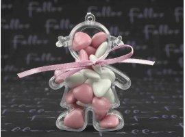 Dragées Baptême - Dragees rose dans poupee plexi fille