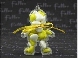Dragées Baptême - Garçon plexi avec dragées coeur jaune et blanc
