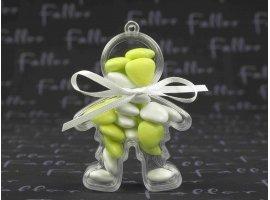 Dragées Baptême - Poupée plexi garçon avec dragées coeur citron vert