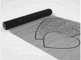 Chemins de Table - Chemin de table noir avec message dans coeur