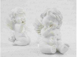 Dragées Baptême - Grand ange blanc de bapteme avec pochon de dragees