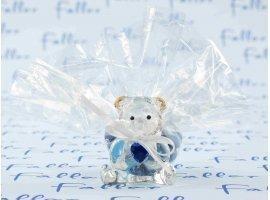 Dragées Baptême - Dragées garçon avec ourson en verre et petit coeur bleu