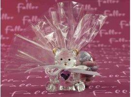 Dragées Baptême - Dragées baptême avec ourson en verre et petit coeur rose