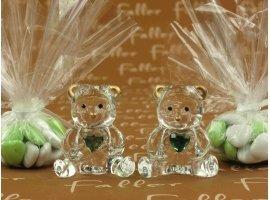 Dragées Baptême - Dragées baptême avec ourson en verre et petit coeur vert