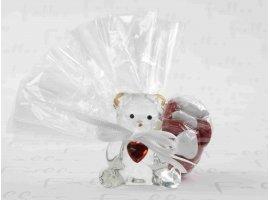 Dragées Baptême - Dragées baptême avec ourson en verre et petit coeur rouge