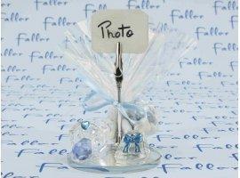 Dragées Baptême - Tetine et chausson en verre bleu pour baptême garçon