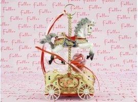 Dragées Baptême - Manège cheval musical avec dragées baptême fille