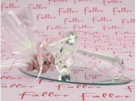 Dragées Baptême - Tétine en verre déposée sur un socle miroir pour fille