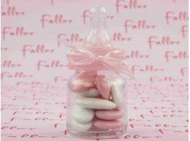 Dragées Baptême - Biberon en verre avec dragées baptême fille