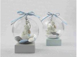 Dragées Baptême - Ange porte-clé dans boule pour baptême garçon