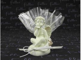 Dragées Mariage - Pochon de dragées pour mariage avec ange sur coeur