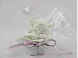 Dragées Baptême - Ange dans rose avec dragées de baptême
