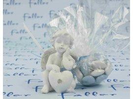 Dragées Baptême - Ange coeur avec dragées baptême garçon