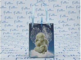 Dragées Baptême - Pochette bleu avec motif ange et dragées baptême