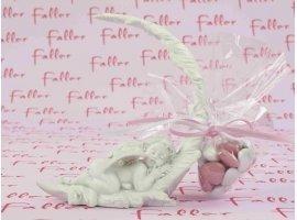 Dragées Baptême - Ange endormi sur plume avec dragées baptême fille