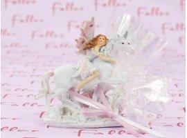 Dragées Baptême - Fée sur licorne avec dragées de baptême fille