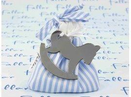 Dragées Baptême - Sac en tissu à rayures en bleu avec cheval à bascule