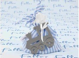 Dragées Baptême - Sac en tissu à rayures en bleu et blanc avec locomotive