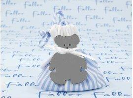 Dragées Baptême - Sac en tissu à rayures bleu avec ourson