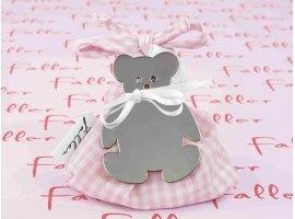 Dragées Baptême - Sac en tissu vichy rose avec ourson