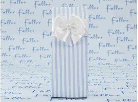 Dragées Baptême - Boite en carton à rayures en bleu et blanc