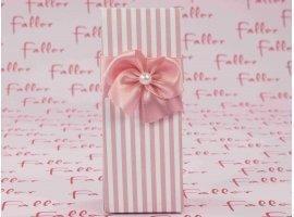 Dragées Baptême - Boite en carton à rayures en rose et blanc
