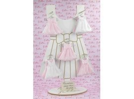 Dragées Baptême - Robe à rayures rose et blanche