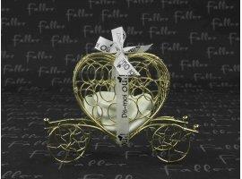 Dragées Mariage - Carosse doré coeur avec dragées de mariage