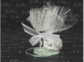 Dragées Communion - Calice en verre sur support miroir