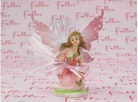 Dragées Baptême - Très belle elfe assise tout en rose pour baptême