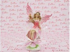Dragées Baptême - Belle elfe tout en rose avec ailes et dragées de baptême
