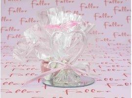 Dragées Baptême - Coeur en verre sur socle miroir et décoré d'un papillon