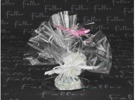 Dragées Baptême - Coeur en verre sur socle  miroir décoré d'un papillon