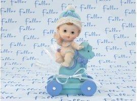 Dragées Baptême - Bébé sur cheval à roulette en bleu pour garçon