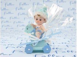 Dragées Baptême - Bébé garçon sur cheval à roulette bleu